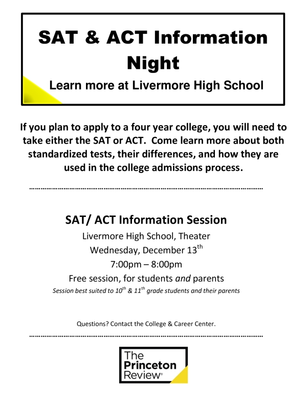 SAT/ ACT Information Session @ LHS Theater | Livermore | California | United States